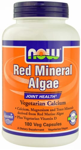 NOW Foods Red Mineral Algae Veg Capsules Perspective: front
