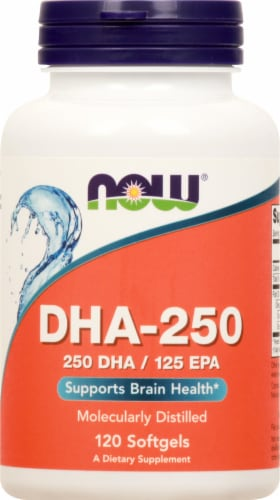 NOW Foods DHA-250 High Potency Softgels 120 Count Perspective: front