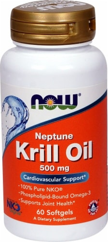 NOW Foods Neptune Krill Oil Softgels 500mg Perspective: front
