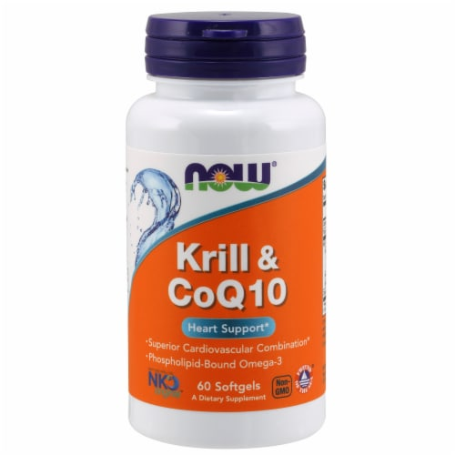 NOW Foods Krill & CoQ10 Heart Support Dietary Supplement Softgels Perspective: front