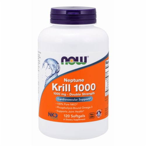 NOW Foods Neptune Krill 1000 Double Strength Cardiovascular Support Softgels 1000mg Perspective: front