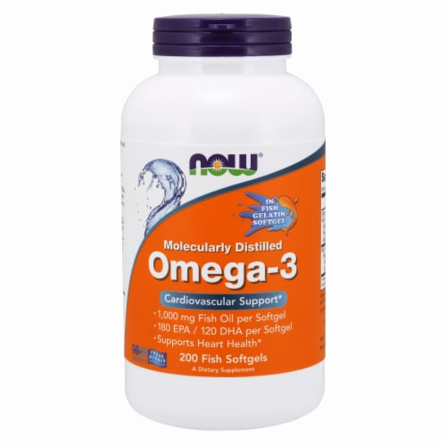 Now Molecularly Distilled Omega-3 Cardiovascular Support Dietary Supplement Fish Softgels Perspective: front