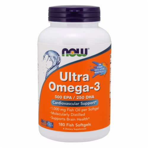 Now Foods Ultra Omega-3 500 EPA/250 DHA Fish Soft Gels Perspective: front