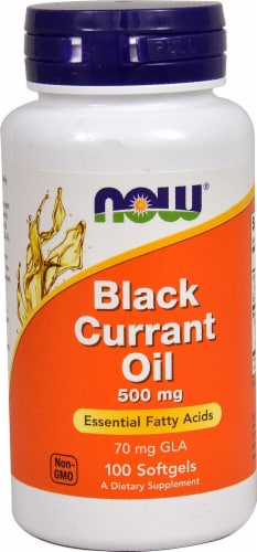 NOW Foods Black Currant Oil Softgels 500mg Perspective: front
