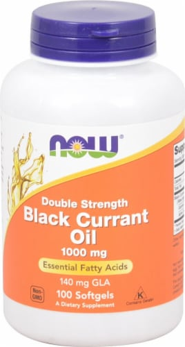 NOW Foods Double Strength Black Currant Oil Softgels 1000mg Perspective: front