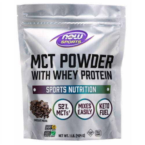NOW Foods Chocolate Mocha Whey Protein Powder Perspective: front