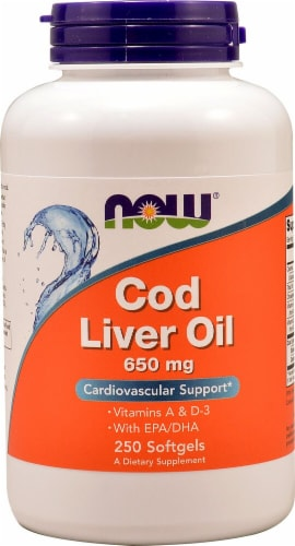 NOW Foods Cod Liver Oil Softgels 650mg Perspective: front