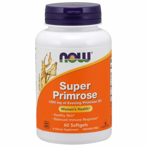 NOW Foods Super Primrose Women's Health Dietary Supplement Softgels 1300mg Perspective: front