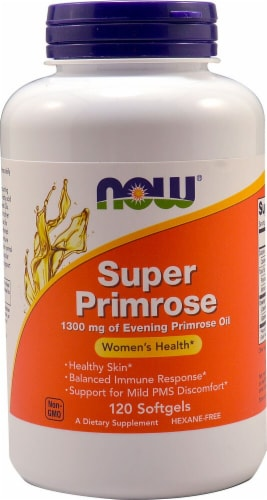 NOW Foods Super Primrose Oil Softgels 1300mg Perspective: front