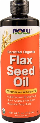 NOW Foods  Certified Organic Flax Seed Oil Perspective: front