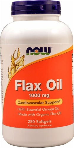 NOW Foods Flax Oil Softgels 1000mg Perspective: front