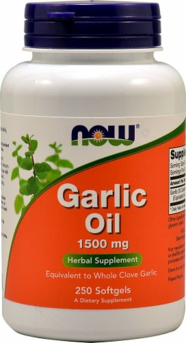 NOW Foods Garlic Oil Softgels 1500mg Perspective: front