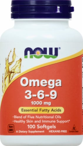 NOW Foods Omega 3-6-9 1000mg Softgels Perspective: front