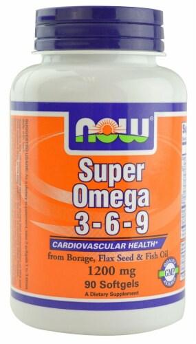 NOW Foods Super Omega 3-6-9 Softgels 1200mg Perspective: front