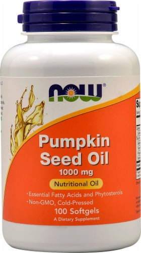 NOW Foods Pumpkin Seed Oil Softgels 1000mg Perspective: front