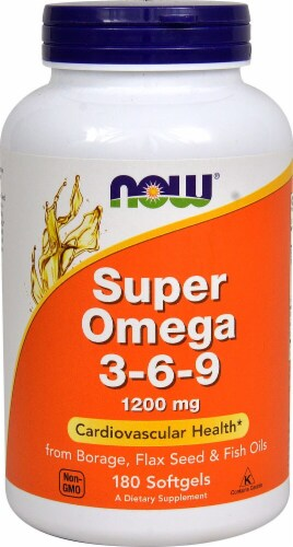 NOW Foods Super Omega 3-6-9 Softgels 1200mg Perspective: front