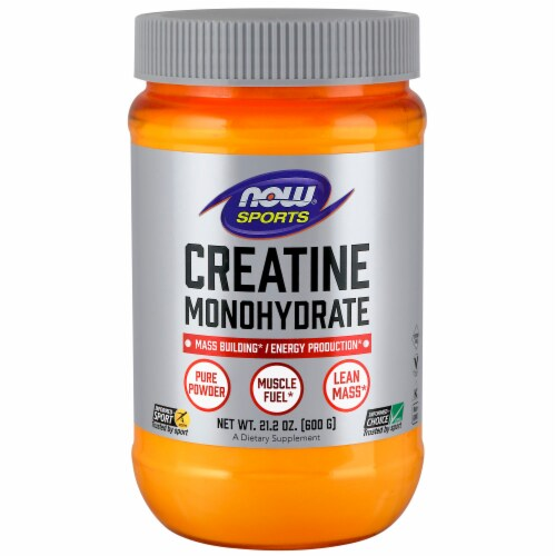 NOW Foods NOW Sports Creatine Monohydrate Dietary Supplement Pure Powder Perspective: front