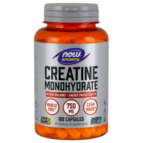 NOW Foods NOW Sports Creatine Monohydrate Dietary Supplement Capsules Perspective: front