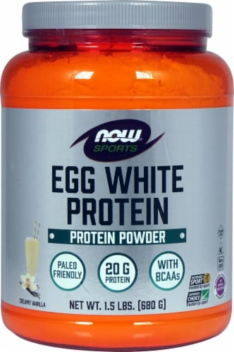 NOW   Sports Eggwhite Protein Powder   Creamy Vanilla Perspective: front