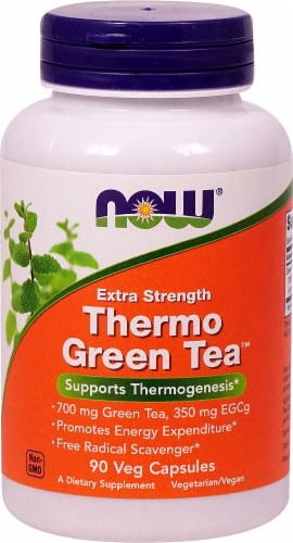 NOW Foods Extra Strength Thermo Green Tea Veg Capsules Perspective: front