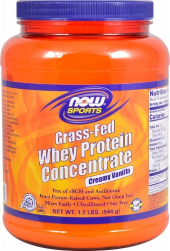 NOW   Sports® Grass-Fed Whey Protein Concentrate   Creamy Vanilla Perspective: front