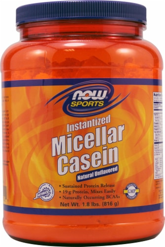 NOW   Sports Micellar Casein   Natural Unflavored Perspective: front