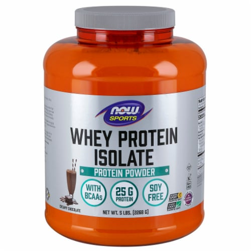 NOW Foods NOW Sports Creamy Chocolate Whey Protein Isolate Powder Perspective: front