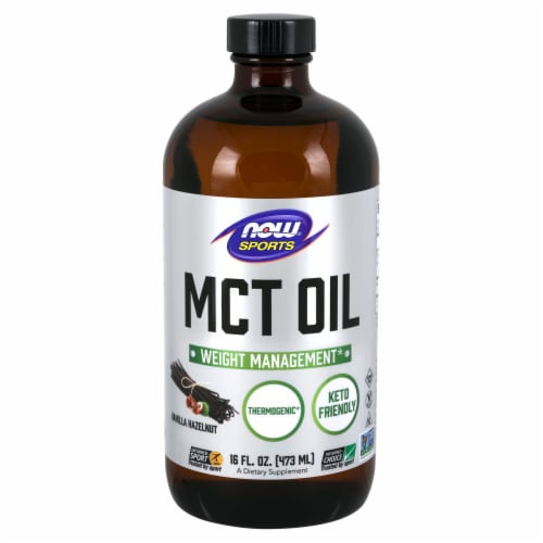 NOW Foods NOW Sports Vanilla Hazelnut Weight Management MCT Oil Perspective: front