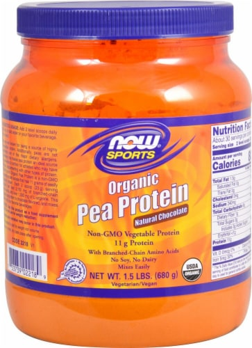 NOW  Sports® Organic Pea Protein   Natural Chocolate Perspective: front
