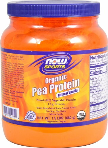 NOW  Sports® Organic Pea Protein   Natural Vanilla Perspective: front