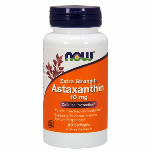 NOW Foods Extra Strength Astaxanthin Cellular Protection Dietary Supplement Softgels 10mg Perspective: front