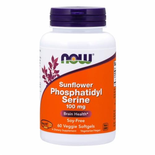 NOW Foods Sunflower Phosphatidyl Serine Bone Health Dietary Supplement Veggie Softgels 100mg Perspective: front