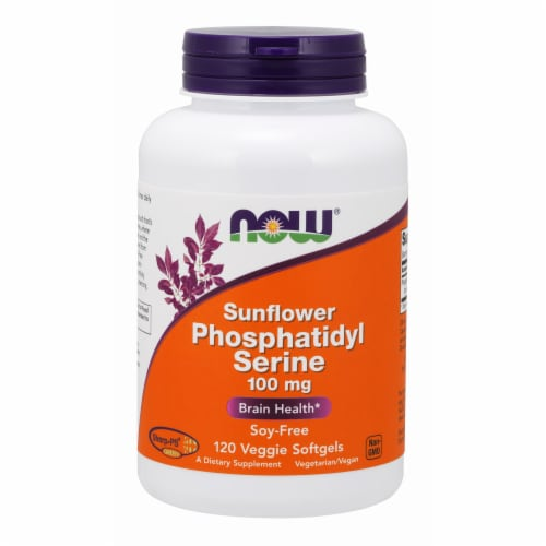 NOW Foods Sunflower Phosphatidyl Serine Brain Health Dietary Supplement Veggie Softgels 100mg Perspective: front