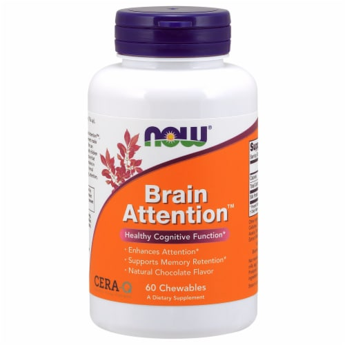 NOW Foods Brain Attention Healthy Cognitive Function Dietary Supplement Chewables Perspective: front