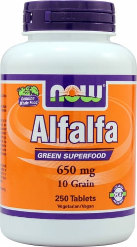 NOW Foods Alfalfa Tablets 650mg Perspective: front