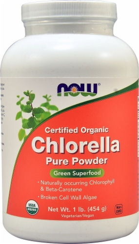 NOW  Certified Organic Chlorella Pure Powder Perspective: front