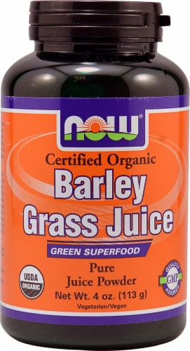 NOW Foods Organic Barley Grass Juice Powder Perspective: front