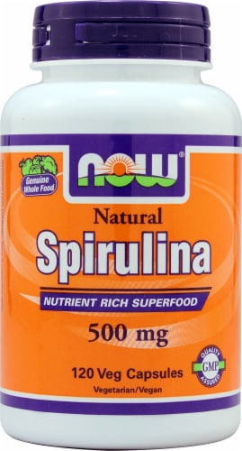 NOW Foods Natural Spirulina Veg Capsules 500mg Perspective: front