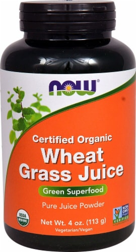 NOW Foods Certified Organic Wheat Grass Juice Powder Perspective: front