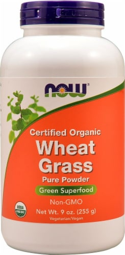 NOW Foods Certified Organic Wheat Grass Pure Powder Perspective: front