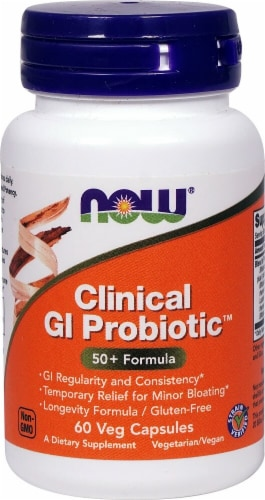 NOW Foods Clinical GI Probiotic 50+ Formula Veg Capsules Perspective: front