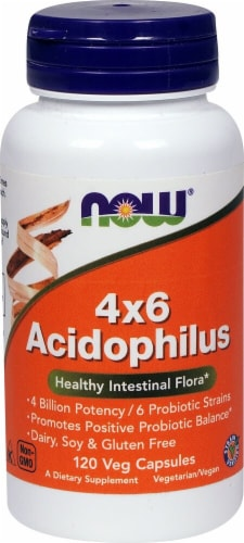 NOW Foods 4X6 Acidophilus Veg Capsules Perspective: front