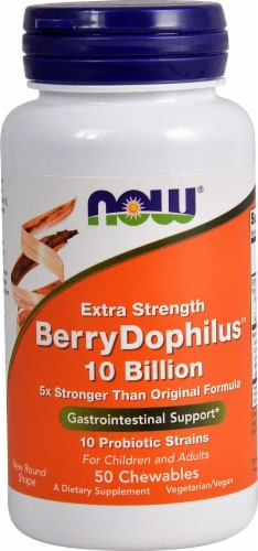 NOW Foods Extra Strength BerryDophilus Chewables Perspective: front