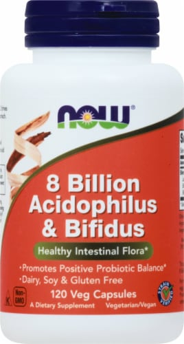 NOW Foods 8 Billion Acidophilus & Bifidus Veg Capsules Perspective: front