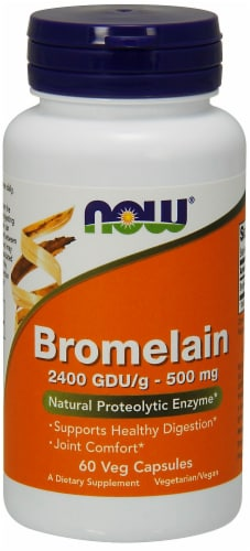 Now Bromelain 500mg Vegetarian Capsules Perspective: front