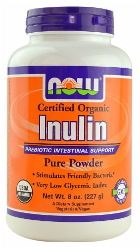 NOW Foods Certified Organic Inulin Pure Powder Perspective: front