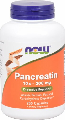 NOW Foods Pancreatin Capsules 200mg Perspective: front