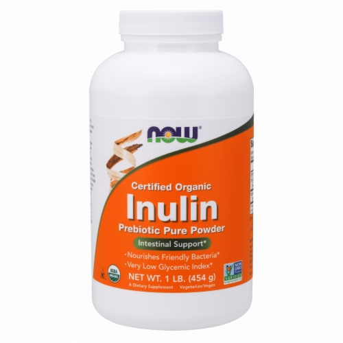 Now Certified Organic Inulin Intestinal Support Prebiotic Pure Powder Perspective: front
