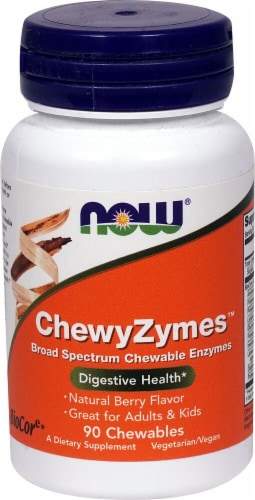 NOW Foods  ChewyZymes™   Natural Berry Perspective: front