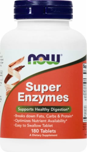 NOW Foods Super Enzymes Tablets Perspective: front